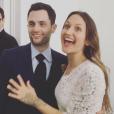 Penn Badgley et Domino Kirke le jour de leur mariage à New York, lundi 27 février 2017