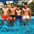 Enzo, Luca, Theo et Elyaz Zidane posent lors de vacances en Grèce. Photo postée sur Instagram le 26 juin 2017.