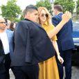 Céline Dion quitte l'hôtel Royal Monceau et se rend à l'Hôtel des Invalides, pour assister au défilé Christian Dior. Paris, le 3 juillet 2017.
