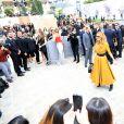 Céline Dion quitte l'hôtel Royal Monceau pour se rendre au défilé de la maison Dior à Paris le 3 juillet 2017.