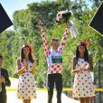Thomas Voeckler avec son maillot à pois à l'arrivée du Tour de France 2012 le 22 juillet 2012 sur les Champs-Elysées.