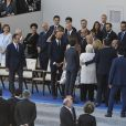 Melania Trump, le président des Etats-Unis Donald Trump, Emmanuel et Brigitte Macron - qui présente son amie Line Renaud à Donald Trump - ainsi que les membres du gouvernement lors du défilé du 14 juillet (fête nationale), place de la Concorde, à Paris, le 14 juillet 2017, avec comme invité d'honneur le président des Etats-Unis. © Pierre Pérusseau/Bestimage