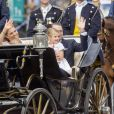 La princesse Victoria de Suède lors d'un cortège à l'occasion de son 40ème anniversaire en assistant à une messe en compagnie de son mari, le prince Daniel et de leurs enfants, la princesse Estelle et le prince Oscar au palais Royal de Stockholm en Suède, le 14 juillet 2017.