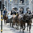 La princesse Victoria de Suède lors d'un cortège à l'occasion de son 40ème anniversaire en assistant à une messe en compagnie de son mari, le prince Daniel et de leur fille, la princesse Estelle au palais Royal de Stockholm en Suède, le 14 juillet 2017.