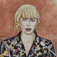 Dessins d'illustrations du procès en cours de Taylor Swift contre D.Mueller à Denver le 10 août 2017.
