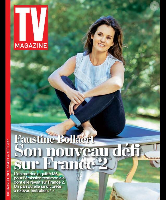 Faustine Bollaert en couverture du numéro de TV Magazine du 20 au 26 août 2017.