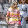 La reine Maxima des Pays-Bas visite un foyer de sans-abri à Delft aux Pays-Bas le 22 août 2017.