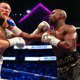 Image du combat entre Floyd Mayweather et Conor McGregor le 26 août 2017 à la T-Mobile Arena à Las Vegas. L'Américain a remporté le duel à la 10e reprise par KO technique (arrêt de l'arbitre).