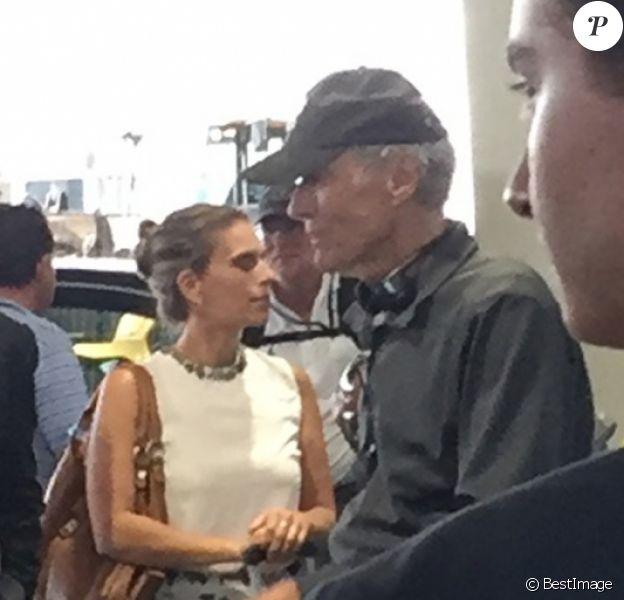 """Exclusif - Clint Eastwood sur le tournage de son prochain film """"The 15:17 to Paris"""" à l'aéroport de Paris-Charles-de-Gaulleà Roissy en France, le 23 août 2017."""