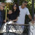 Amal et George Clooney quittent leur hôtel à Venise avec leurs jumeaux Ella et Alexander, le 03 septembre 2017