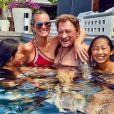 Johnny Hallyday en vacances à Saint-Barthélemy avec sa femme Laeticia et leurs deux filles Jade et Joy, 23 août 2017.