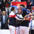Jo-Wilfried Tsonga après le match contre Dusan Lajovic en demi-finale de Coupe Davis (France-Serbie) le 17 septembre 2017 au stade Pierre Mauroy de Lille.