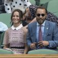 Pippa Middleton et son frère James Middleton au tournoi de tennis de Wimbledon à Londres, le 5 juillet 2017.
