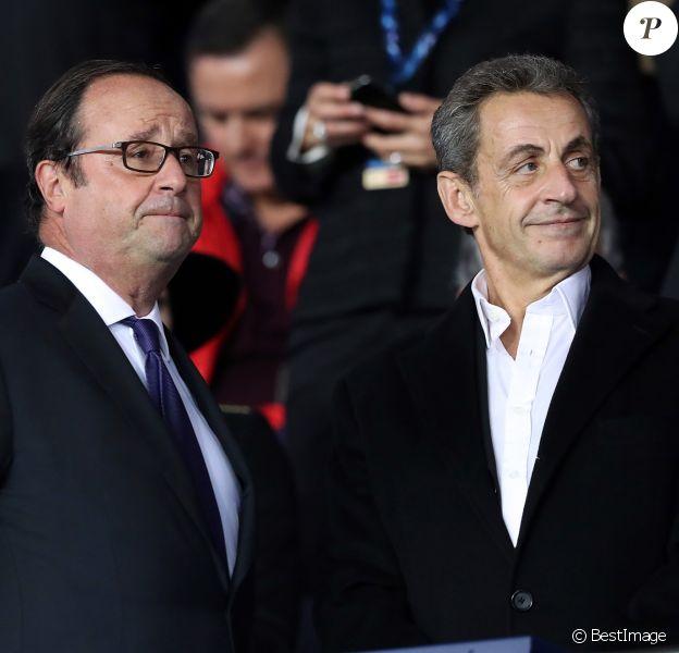 François Hollande et Nicolas Sarkozy assistent au match de le Ligue des Champios PSG/Bayern Munich (3-0) au Parc des Princes à Paris, le 27 septembre 2017. © Cyril Moreau/Bestimage