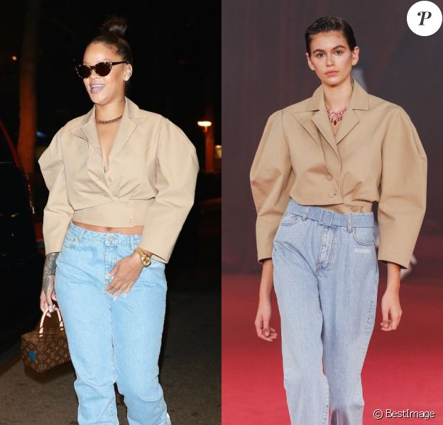Rihanna et Kaia Gerber, entièrement habillées en Off-White™ (collection printemps-été 2018).