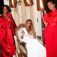 Beyoncé, sa soeur Solonage et Kelly Rowland après la cérémonie des Grammy Awards, à Los Angeles, le 12 février 2017.