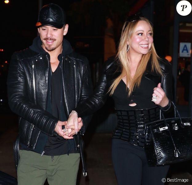 Exclusif - Mariah Carey et son compagnon Bryan Tanaka quittent le restaurant Blue Ribbon Brasserie à New York, le 17 octobre 2017.