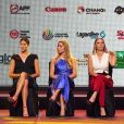 Garbine Muguruza, Elina Svitolina, Caroline Wozniacki et Caroline Garcia lors du tirage au sort du WTA Finals 2017 à Singapour le 20 octobre 2017 © Then Chih Wey/Xinhua/Newscom/ABACAPRESS.COM