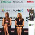 Jelena Ostapenko, Venus Williams, Karolina Pliskova et Simona Halep lors du tirage au sort du WTA Finals 2017 à Singapour le 20 octobre 2017 © Then Chih Wey/Xinhua/Newscom/ABACAPRESS.COM