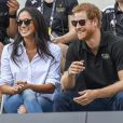Première apparition officielle du prince Harry et sa compagne Meghan Markle dans les tribunes de la finale de tennis à la troisième édition des Invictus Games à Toronto, Ontario, le 25 septembre 2017.