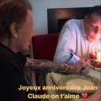 """""""Jean-Claude Camus célébrant ses 79 ans avec son ami Johnny Hallyday, en présence de Patrick Bruel et Laeticia Hallyday au domicile du rockeur  à Marnes-la-Coquette, le 29 octobre 2017. """""""