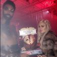 """Tristan Thompson et Khloé Kardashian déguisés pour la soirée d'Halloween, le 30 octobre 2017. Sur Snapchat, la star de télé-réalité a confirmé à demi-mot sa grossesse en surnommant sur l'une de ses photos son chéri """"daddy"""" (""""papa"""")."""