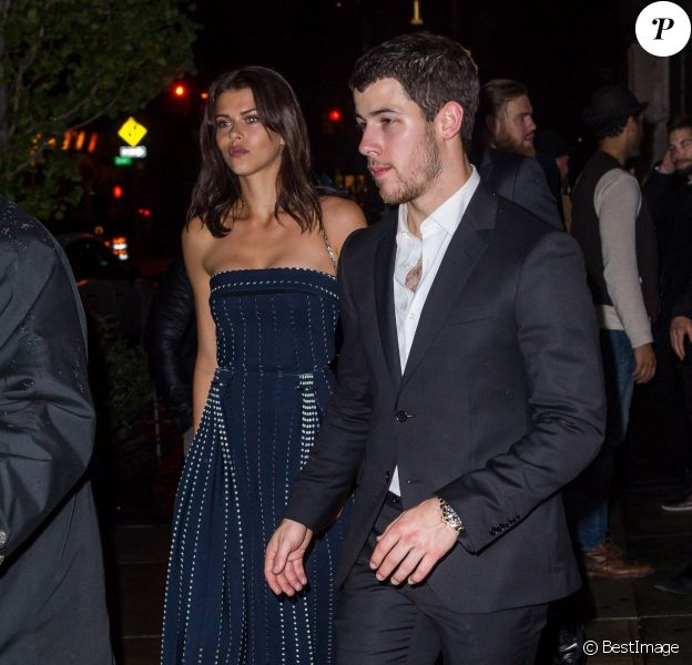 Nick Jonas et Georgia Fowler aux fiançailles de Joe Jonas et Sophie Turner à New York, le 4 novembre 2017