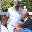 George Clooney et sa femme Amal Clooney quittent leur hôtel à Venise avec leurs enfants le 3 septembre 2017