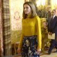 Le roi Felipe VI et la reine Letizia d'Espagne recevaient le 20 novembre 2017 le président de l'Etat de Palestine, Mahmoud Abbas, au palais royal à Madrid.