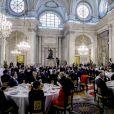 Le roi Felipe VI et la reine Letizia d'Espagne recevaient le 20 novembre 2017 le président de l'Etat de Palestine, Mahmoud Abbas, au palais royal à Madrid. © Emilio Naranjo/EFE/ABACAPRESS.COM
