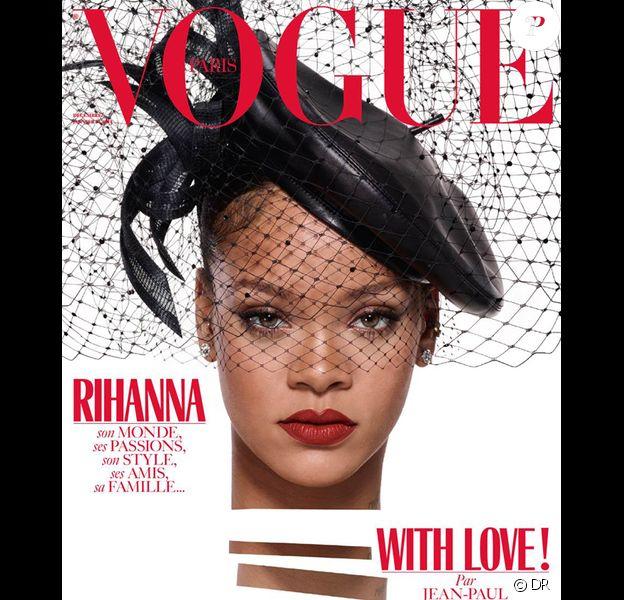 Rihanna en couverture du magazine Vogue Paris, numéro de décembre 2017. Photo par Jean-Paul Goude.