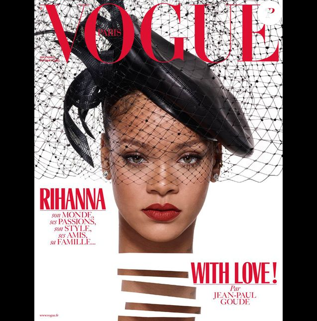 Rihanna en couverture du magazine Vogue Paris, numéro de décembre 2017. Photo par Jean-Paul Goude.