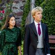 Le prince Christian de Hanovre et sa compagne Alessandra de Osma au mariage religieux du prince Ferdinand de Leiningen et de Viktoria Luise de Prusse à Amorbach en Allemagne le 16 septembre 2017.