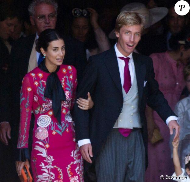 Le prince Christian de Hanovre, sa compagne Alessandra de Osma et sa mère Chantal Hochuli lors du mariage du prince Ernst August Jr et d'Ekaterina Malysheva le 8 juillet 2017 en l'église martkirche à Hanovre.