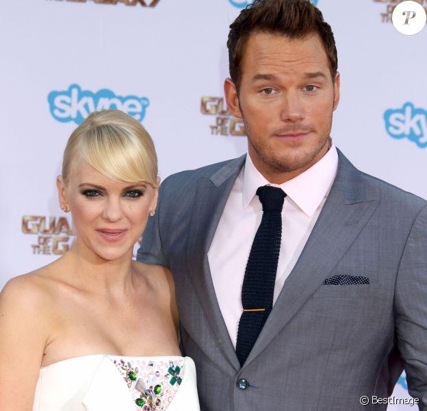"""Chris Pratt et sa femme Anna Faris lors de la première du film """"Guardians of the Galaxy"""" à Hollywood, le 21 juillet 2014."""