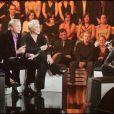 """Mimie Mathy, laurent Boyer, Muriel Robin et Johnny Hallyday - L'émission """"Fréquence star"""" fête ses 15 ans. Le 15 novembre 2005 à Paris."""