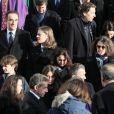 Olivier Sarkozy, Pierre Sarkozy, Jean Sarkozy et sa femme Jessica Sebaoun, François Sarkozy, ses filles Anastasia et Katinka, Nicolas Sarkozy - Sortie des obsèques de Andrée Sarkozy (mère de Nicolas Sarkozy), dite Dadue née Andrée Mallah, en l'église Saint-Jean-Baptiste à Neuilly-Sur-Seine, le 18 décembre 2017.
