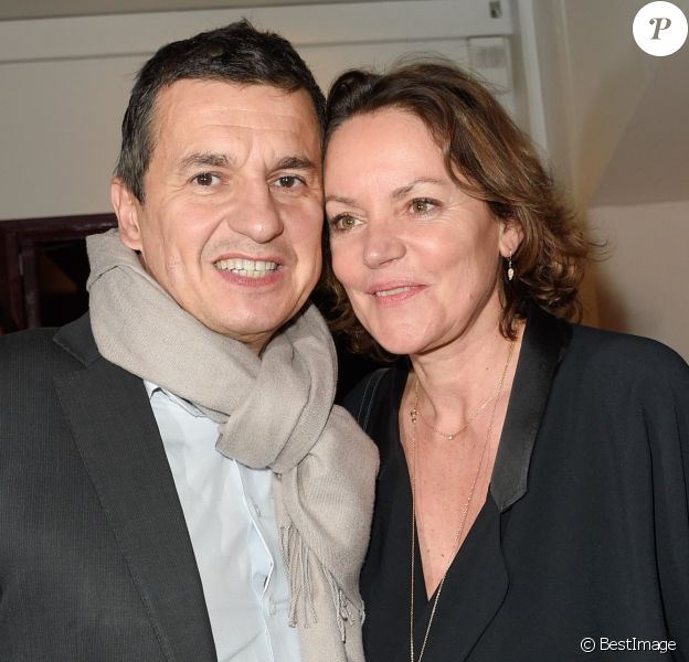 """Cendrine Dominguez et son nouveau compagnon Franck Rousseau à la générale du spectacle de """"Michel Leeb - 40 ans !"""" au Casino de Paris le 14 décembre 2017. © Coadic Guirec/Bestimage"""