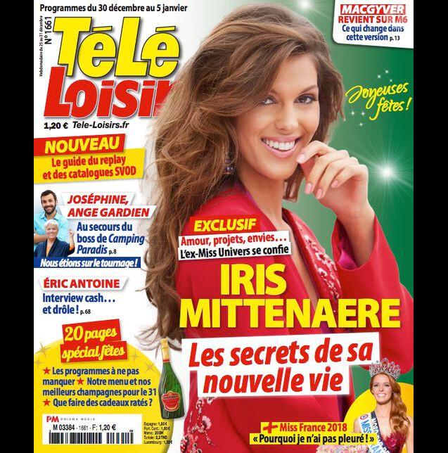 """Iris Mittenaere en couverture du magazine """"Télé Loisirs"""" en kiosques mardi 26 décembre 2017."""