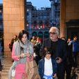 Flavio Briatore avec son épouse et leur fils Falco à Milan en Italie le 27 avril 2017.