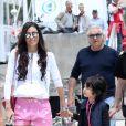 Flavio Briatore, sa femme Elisabetta Gregoraci et son fils Falco Nathan à Monaco pour assister au Grand Prix de Formule 1 le 24 mai 2015.