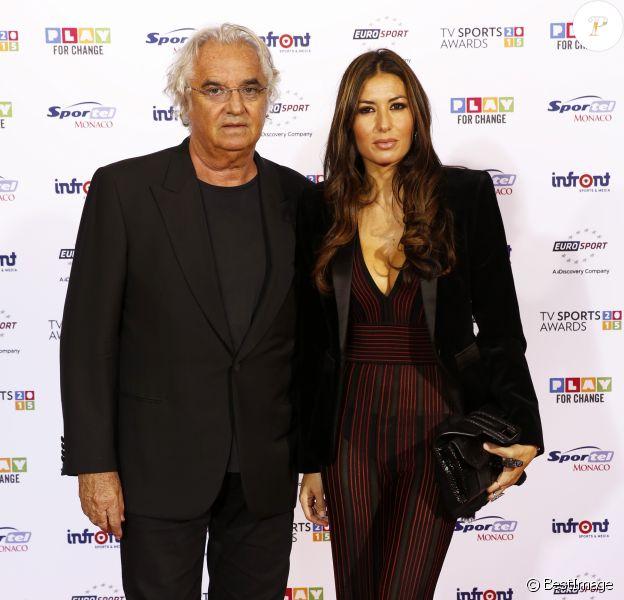 Exclusif - Flavio Briatore et sa femme Elisabetta Gregoraci - Cérémonie TV Sport Awards Sportel à Monaco le 12 octobre 2015