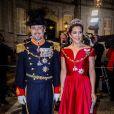 Le prince Frederik et la princesse Mary de Danemark au palais Christian VII à Copenhague le 1er janvier 2018 pour le premier banquet du Nouvel An.