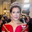 La princesse Mary de Danemark au palais Christian VII à Copenhague le 1er janvier 2018 pour le premier banquet du Nouvel An.