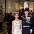 La princesse Marie de Danemark au palais Christian VII à Copenhague le 1er janvier 2018 pour le premier banquet du Nouvel An.