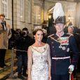 La princesse Marie et le prince Joachim de Danemark au palais Christian VII à Copenhague le 1er janvier 2018 pour le premier banquet du Nouvel An.