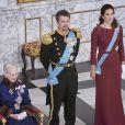 Le prince héritier Frederik et la princesse Mary de Danemark secondaient la reine Margrethe II au palais de Christiansborg à Copenhague le 3 janvier 2018 pour les voeux de la monarque au corps diplomatique.
