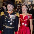 Arrivée de la famille royale de Danemark (le prince Joachim et la princesse Marie, le prince Frederik et la princesse Mary, et enfin la reine Margrethe II) au palais Christian VII à Copenhague le 1er janvier 2018 pour le premier banquet du Nouvel An.