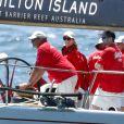 """Exclusif - La princesse Mary et le prince Frederik de Danemark sur le yacht """"Wild Oats XI"""" dans la baie de Sydney (Walsh Bay Sydney Harbour), le 12 décembre 2017."""