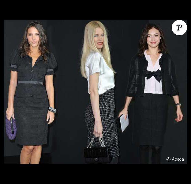 Virginie Ledoyen, Claudia Schiffer et Olga Kurylenko au défilé Chanel, 10 mars 2009